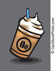 Ice Blended Coffee with Whip Cream Vector Illustration