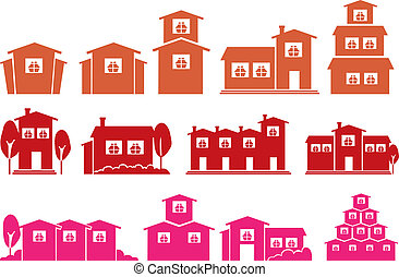Vector Icon Set of Houses and Homes Isolated on White...