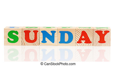 Cubes with weekday - Word sunday formed by wood alphabet...