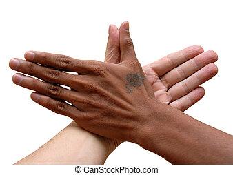 africano, caucásico, mano, unido