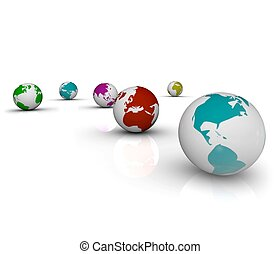 Colorful Earths on White Background - Several different...