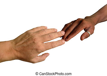 African and Caucasian fingers touching - African black and...