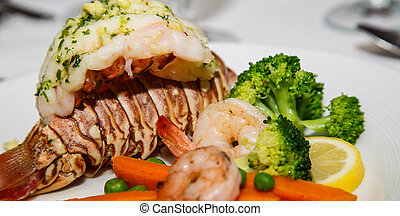 Lobster Tail with Shrimp and Broccoli - Gourmet Dinner of...