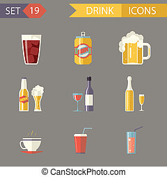Retro Flat Alcohol Beer Juice Tea Wine Drink Icons and...