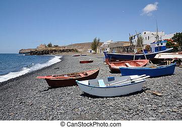 Rowboats on the beach, Canary Island Fuerteventura, Spain