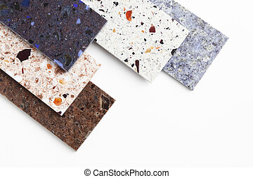 Countertop samples on white background