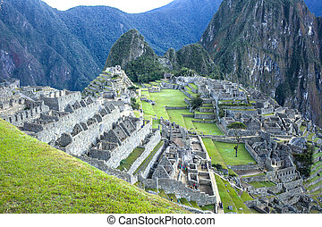 Machu Picchu at dawn - Ancient hidden city of Machu Picchu...
