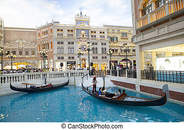 COTAI STRIP MACAU CHINA-AUGUST 22 visitor on gondola boat in...