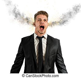 Stressed businessman - Concept of stress with businessman...