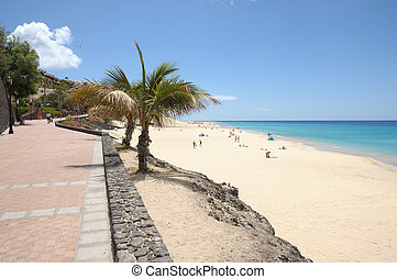 Promenade and beach at Morro Jable, Canary Island...