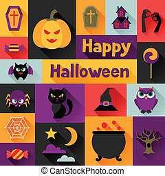 Happy halloween greeting card in flat design style