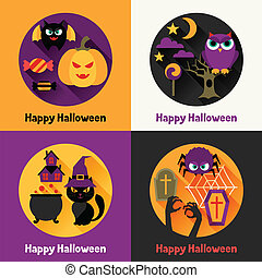 Happy halloween greeting cards in flat design style