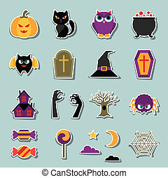 Happy halloween sticker set in flat design style