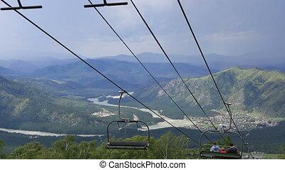 Ski chairlift on Mount Shallow Sinyuha. Altai Republic....