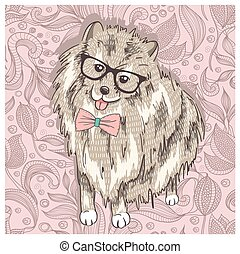 Hipster spitz with glasses and bowtie. Cute puppy...
