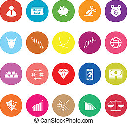 Stock market flat icons on white background, stock vector