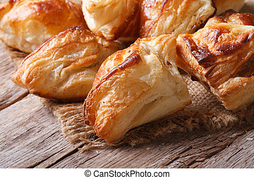 Pies of puff pastry close up horizontal - Pies of puff...