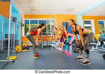 Klubba, Hantlar, flickor, exercerande,  fitness