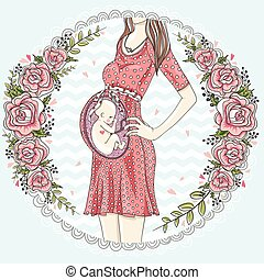 Pregnant woman with cute baby