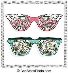 Vintage sunglasses with flowers