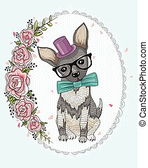 Cute hipster dog and flower frame