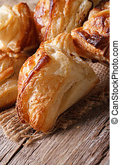Pies of puff pastry close up vertical - Pies of puff pastry...