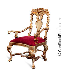 Golden throne - Golden royalty\'s Throne. Isolated on white...