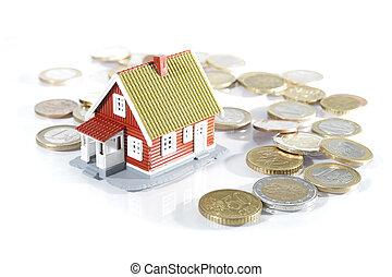 House and money isolated on white - House and money isolated...