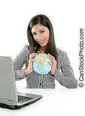 Brunette businesswoman with global map