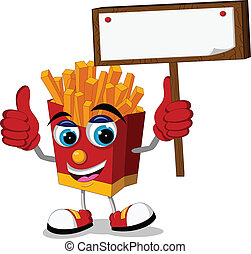 fried potatoes with blank board - vector illustration of...