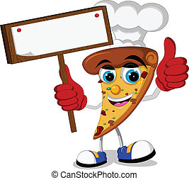 pizza cartoon holding blank board - vector illustration of...