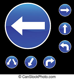 Seven Round Shape Blue Road Signs