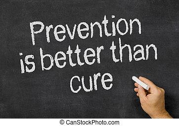 pizarra, texto, Prevención, mejor, que,...