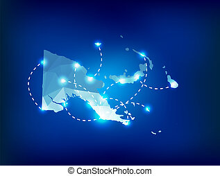 Papua New Guinea country map polygonal with spot lights...