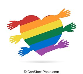 Gay flag  in the form of heart with colored hans