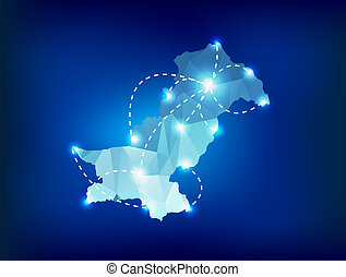 Pakistan country map polygonal with spot lights places