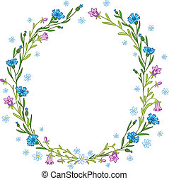 Floral wreath composition with cornflowers, chamomiles and...