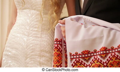 Wedding embroidered towel - Bride and groom with national...