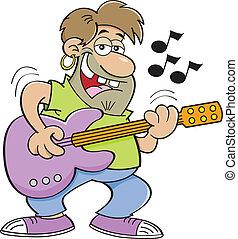Cartoon man playing a guitar. - Cartoon illustration of a...