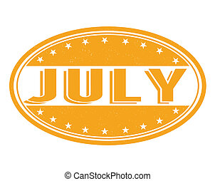 July stamp - July grunge rubber stamp on white background,...