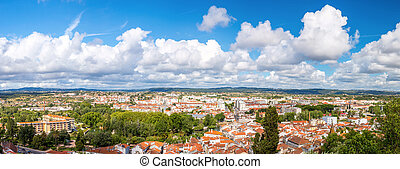 Tomar panorama Portugal - Panorama shot of Old Town Tomar,...