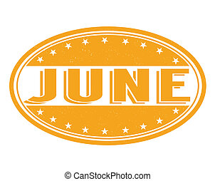 June stamp - June grunge rubber stamp on white background,...