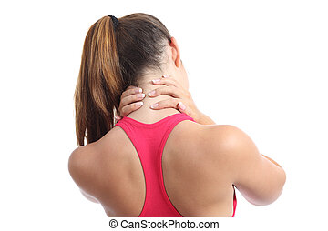 Back view of a fitness woman with neck pain isolated on a...