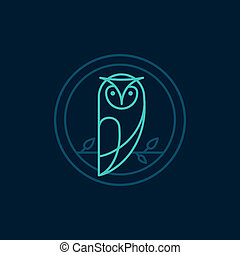 Vector owl icon in outline style - abstract emblem