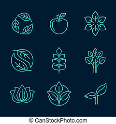 Organic icons in outline style - Vector abstract icons -...