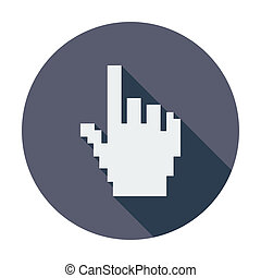 Hand cursor Single flat color icon Vector illustration