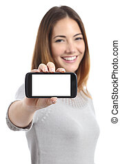 Happy woman showing a horizontal smart phone screen app...