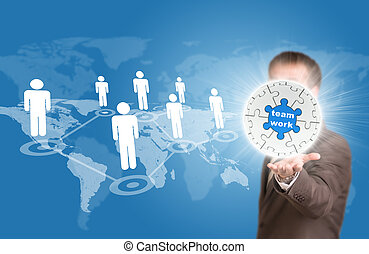Business man hold puzzle sphere with business label
