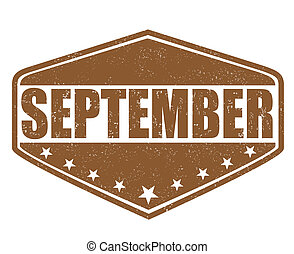 September stamp - September grunge rubber stamp on white...