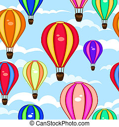 Colorful seamless pattern of hot air balloons - Colorful...